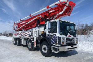 Concrete pump truck belonging to L&N Concrete Pumping of Owatonna, MN